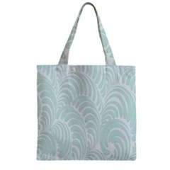 Leaf Blue Zipper Grocery Tote Bag by Alisyart
