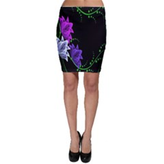 Neon Flowers Floral Rose Light Green Purple White Pink Sexy Bodycon Skirt by Alisyart