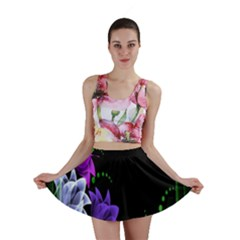 Neon Flowers Floral Rose Light Green Purple White Pink Sexy Mini Skirt