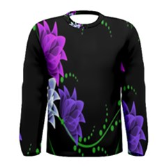 Neon Flowers Floral Rose Light Green Purple White Pink Sexy Men s Long Sleeve Tee by Alisyart