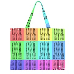 Multiplication Printable Table Color Rainbow Zipper Large Tote Bag by Alisyart