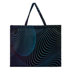 Line Light Blue Green Purple Circle Hole Wave Waves Zipper Large Tote Bag by Alisyart