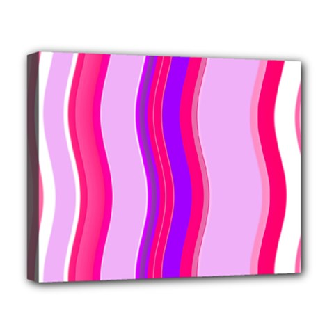 Pink Wave Purple Line Light Deluxe Canvas 20  X 16   by Alisyart