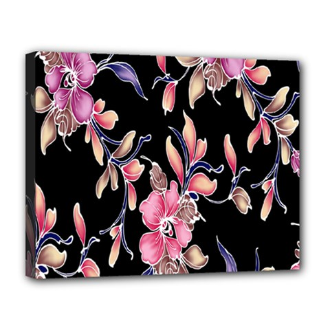Neon Flowers Rose Sunflower Pink Purple Black Canvas 14  X 11  by Alisyart