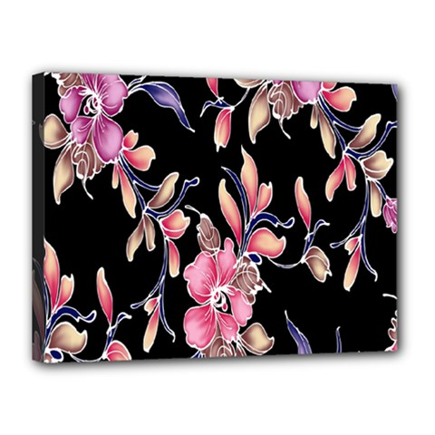 Neon Flowers Rose Sunflower Pink Purple Black Canvas 16  X 12  by Alisyart