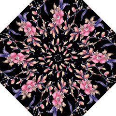 Neon Flowers Rose Sunflower Pink Purple Black Folding Umbrellas by Alisyart
