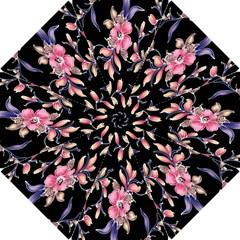 Neon Flowers Rose Sunflower Pink Purple Black Hook Handle Umbrellas (small) by Alisyart
