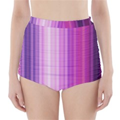 Pink Vertical Color Rainbow Purple Red Pink Line High Waisted Bikini Bottoms