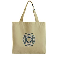 Shape Experimen Geometric Star Plaid Sign Zipper Grocery Tote Bag by Alisyart