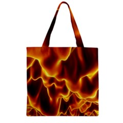 Sea Fire Orange Yellow Gold Wave Waves Zipper Grocery Tote Bag by Alisyart