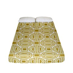 Gold Geometric Plaid Circle Fitted Sheet (full/ Double Size) by Alisyart