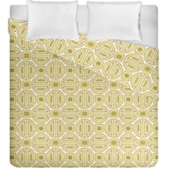 Gold Geometric Plaid Circle Duvet Cover Double Side (king Size) by Alisyart