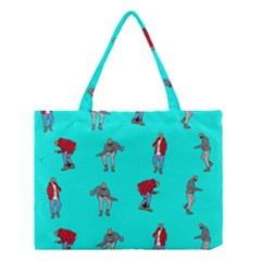 Hotline Bling Blue Background Medium Tote Bag by Onesevenart