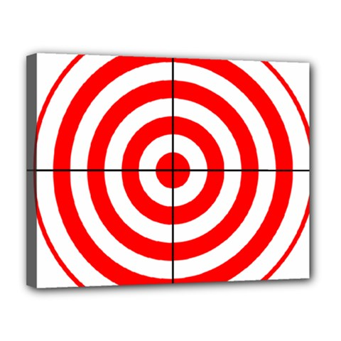 Sniper Focus Target Round Red Canvas 14  X 11  by Alisyart