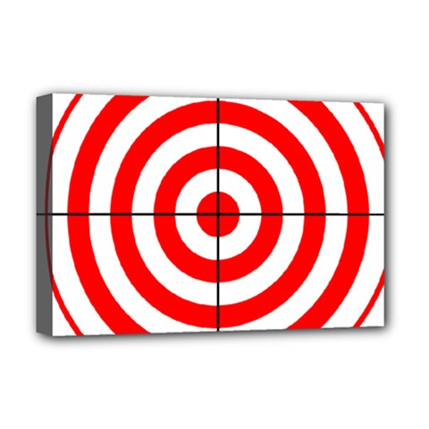 Sniper Focus Target Round Red Deluxe Canvas 18  X 12   by Alisyart