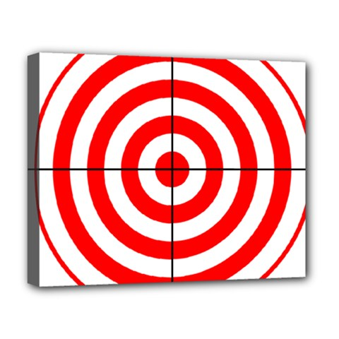 Sniper Focus Target Round Red Deluxe Canvas 20  X 16   by Alisyart
