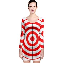 Sniper Focus Target Round Red Long Sleeve Bodycon Dress