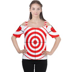 Sniper Focus Target Round Red Women s Cutout Shoulder Tee