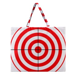 Sniper Focus Target Round Red Zipper Large Tote Bag by Alisyart