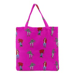Hotline Bling Pink Background Grocery Tote Bag by Onesevenart