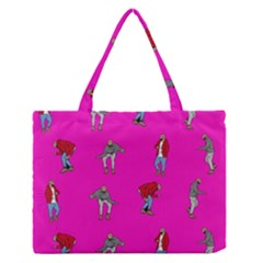 Hotline Bling Pink Background Medium Zipper Tote Bag by Onesevenart