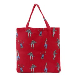 Hotline Bling Red Background Grocery Tote Bag by Onesevenart