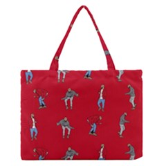 Hotline Bling Red Background Medium Zipper Tote Bag by Onesevenart