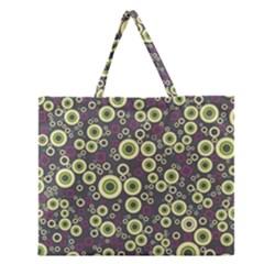 Ring Circle Plaid Green Pink Blue Zipper Large Tote Bag by Alisyart