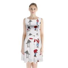 Hotline Bling White Background Sleeveless Chiffon Waist Tie Dress by Onesevenart