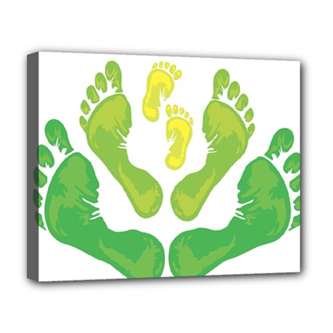 Soles Feet Green Yellow Family Deluxe Canvas 20  X 16   by Alisyart