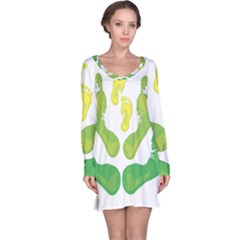 Soles Feet Green Yellow Family Long Sleeve Nightdress by Alisyart