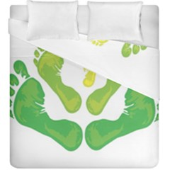 Soles Feet Green Yellow Family Duvet Cover Double Side (king Size) by Alisyart