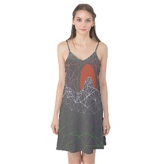 Sun Line Lighs Nets Green Orange Geometric Mountains Camis Nightgown by Alisyart