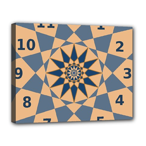 Stellated Regular Dodecagons Center Clock Face Number Star Canvas 14  X 11  by Alisyart