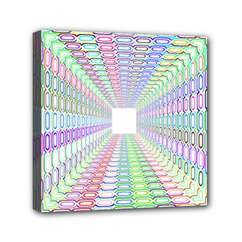 Tunnel With Bright Colors Rainbow Plaid Love Heart Triangle Mini Canvas 6  X 6  by Alisyart