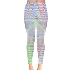 Tunnel With Bright Colors Rainbow Plaid Love Heart Triangle Leggings  by Alisyart