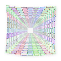 Tunnel With Bright Colors Rainbow Plaid Love Heart Triangle Square Tapestry (large) by Alisyart