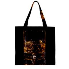 Drink Good Whiskey Zipper Grocery Tote Bag by Onesevenart