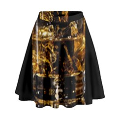 Drink Good Whiskey High Waist Skirt by Onesevenart