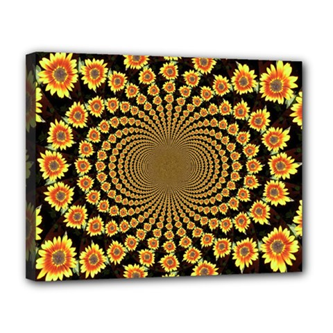 Psychedelic Sunflower Canvas 14  X 11  by Photozrus