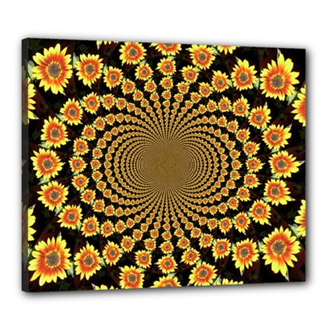 Psychedelic Sunflower Canvas 24  X 20  by Photozrus