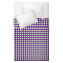 Mardi Gras Purple Plaid Duvet Cover Double Side (single Size) by PhotoNOLA