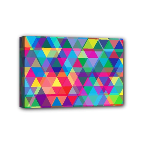 Colorful Abstract Triangle Shapes Background Mini Canvas 6  X 4  by TastefulDesigns