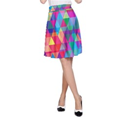 Colorful Abstract Triangle Shapes Background A Line Skirt by TastefulDesigns