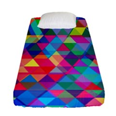 Colorful Abstract Triangle Shapes Background Fitted Sheet (single Size) by TastefulDesigns