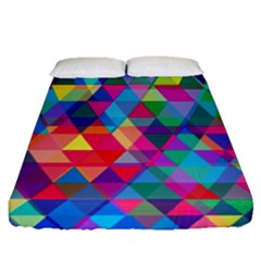 Colorful Abstract Triangle Shapes Background Fitted Sheet (queen Size) by TastefulDesigns
