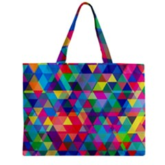 Colorful Abstract Triangle Shapes Background Zipper Mini Tote Bag by TastefulDesigns
