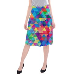 Colorful Abstract Triangle Shapes Background Midi Beach Skirt by TastefulDesigns