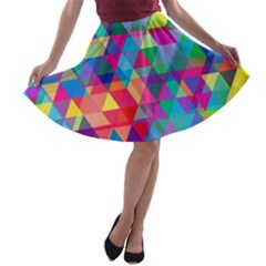 Colorful Abstract Triangle Shapes Background A Line Skater Skirt by TastefulDesigns