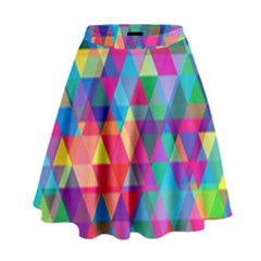Colorful Abstract Triangle Shapes Background High Waist Skirt by TastefulDesigns